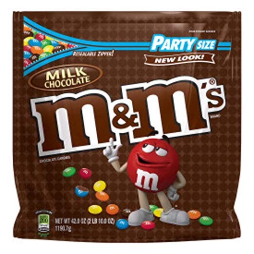 M&Ms plain candies, party size 38 oz bag