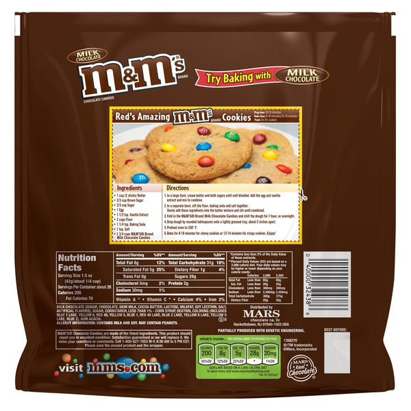 Back view of Milk Chocolate M&Ms Party Size bag