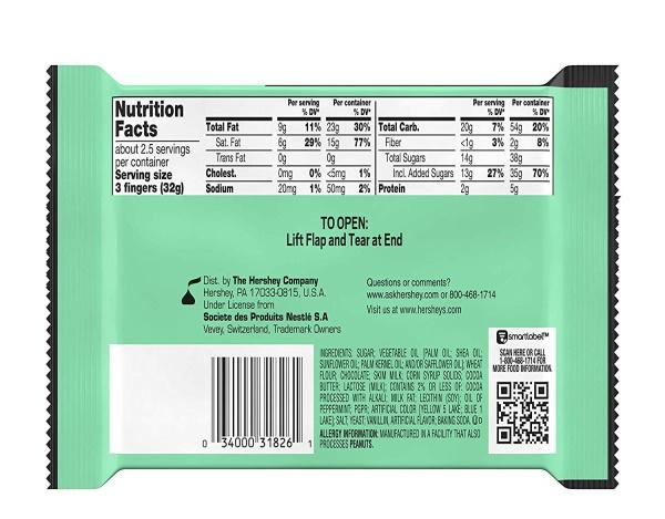 Kit Kat®  Duos Mint + Dark Chocolate Candy Product Image Nutrition facts