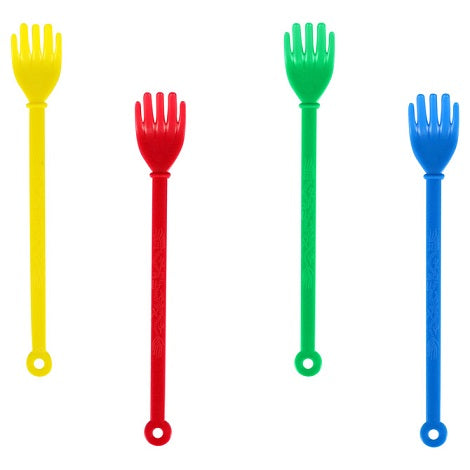 Bulk Plastic Back Scratchers in yellow, red, green and blue