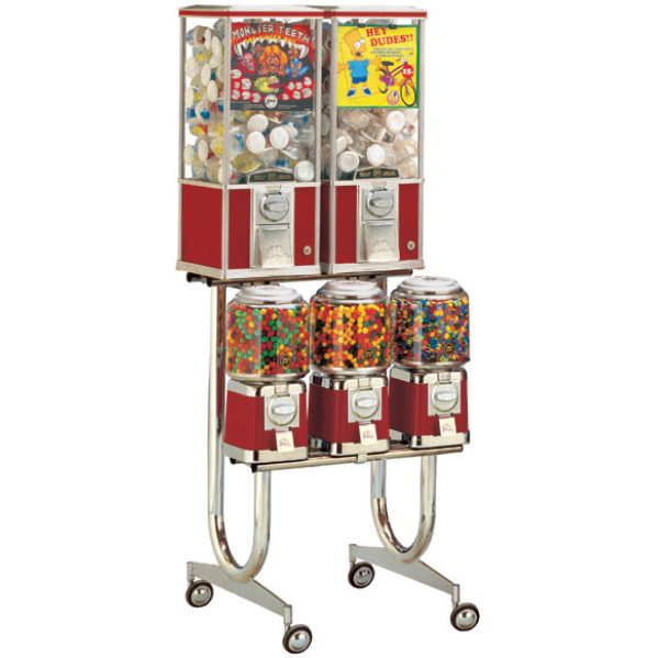 Beaver 5 head combination bulk vending machine on rolling stand