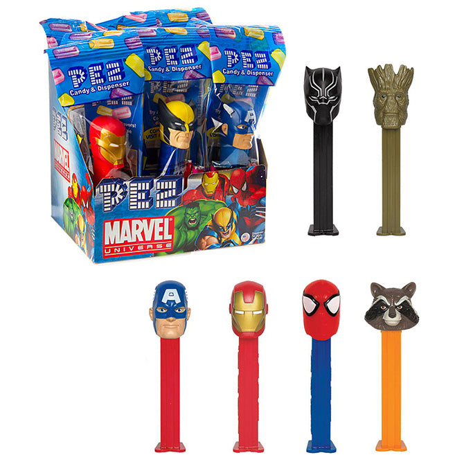 Marvel Comics pez candy dispensers Avengers Endgame Superhero Iron man spiderman Pez Dispensers