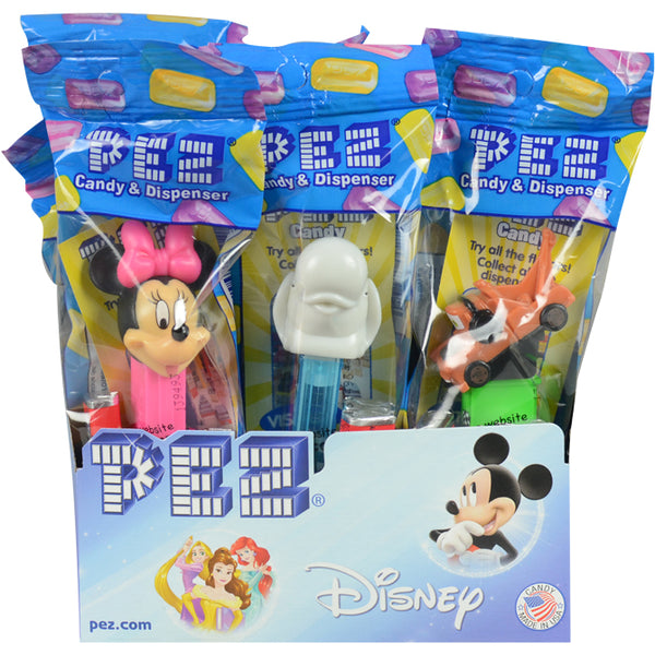 Disney themed PEZ candy dispensers with product display front side