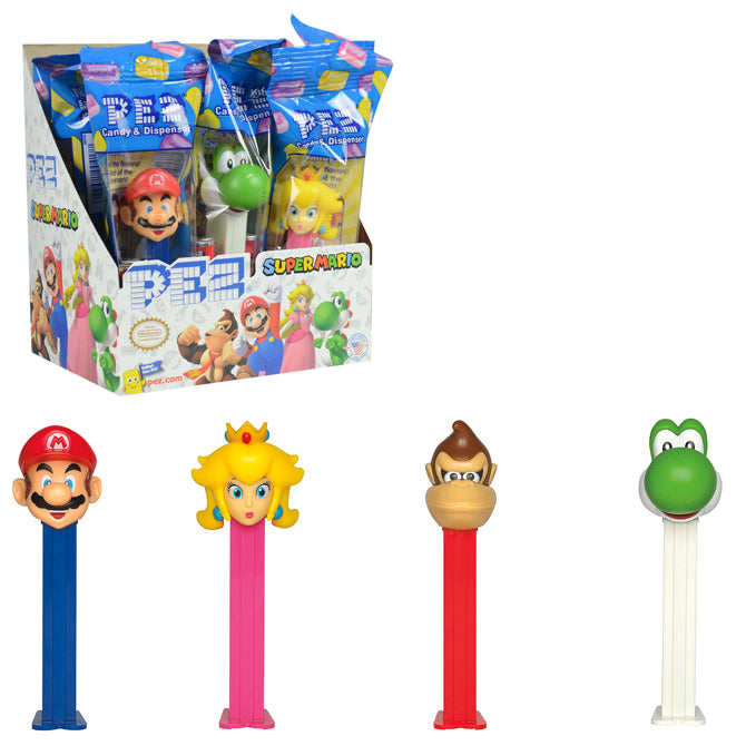 nintendo super mario pez candy dispensers 12 count  yoshi peach donkey kong