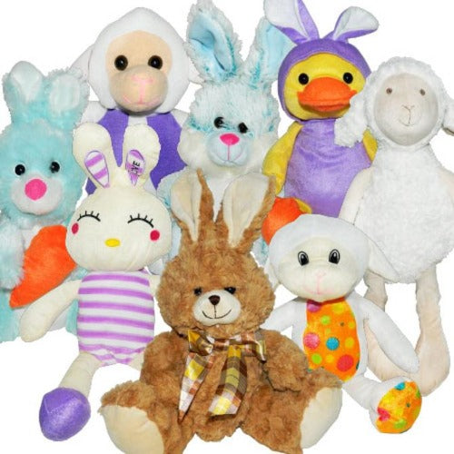 Generic Easter Spring Jumbo Plush Mix Product Image Assorted Stuffed Animals Duck Rabbit Bunny Lamb