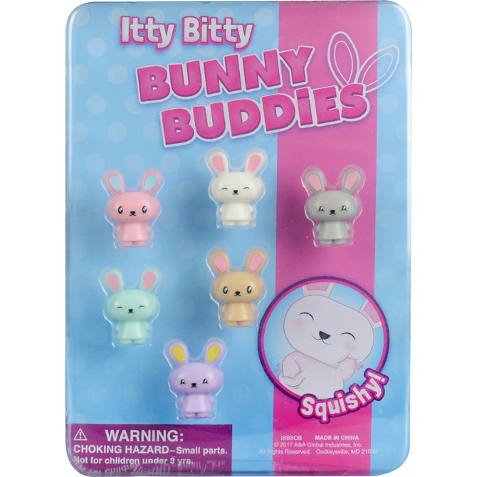 Itty Bitty Bunny Buddies 1 inch capsule toys cute blister display front side