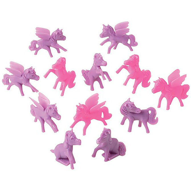 Pink and purple mini ponies