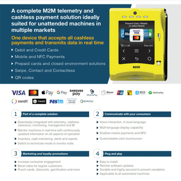 Nayax VPOS Touch Cashless Credit Card Reader Product Brochure 1