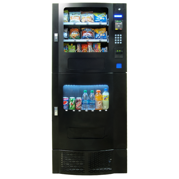 Front view of black Seaga SM23 combo vending machine