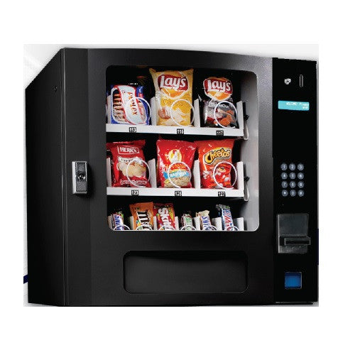 Seaga SM16SB small snack machine in color black. Front view.