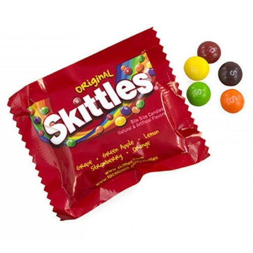 Original Skittles Fruit Flavored Fun Size Colorful Candy Pieces Open Product Packaging