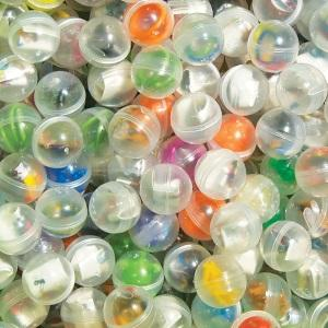 "Assorted 2.3"" round toy vending capsules with premium toys"