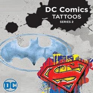 dc comics logo vending tattoos in cardboard folders
