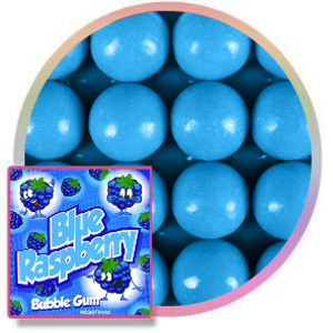 Zed blue raspberry 1 inch bubble gum balls