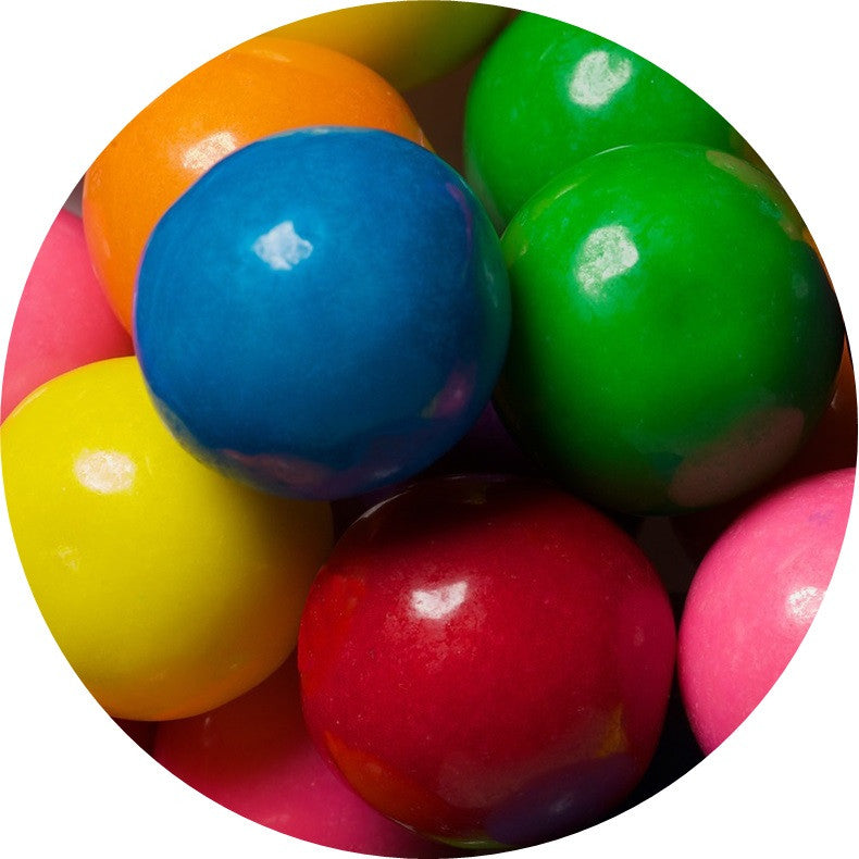 1-inch assorted color and flavor gumballs in 2 pound bag