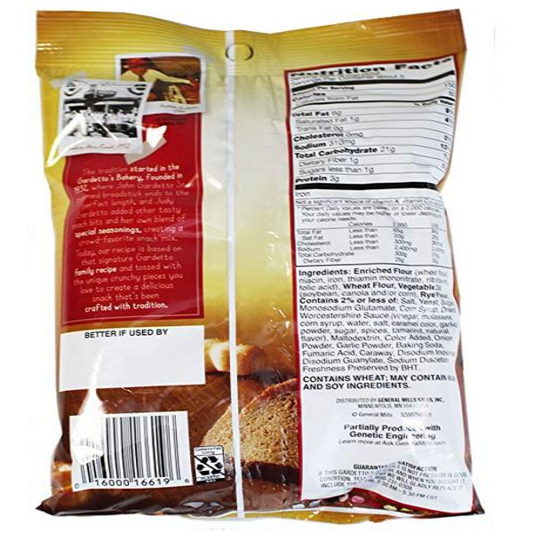 gardetto's gardettos original classic family recipe snack mix  back view bag with nutrition and ingredients