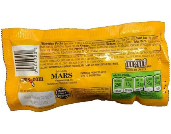 m and m mms m&m's peanut chocolate candy back view bag with nutrition and ingredients