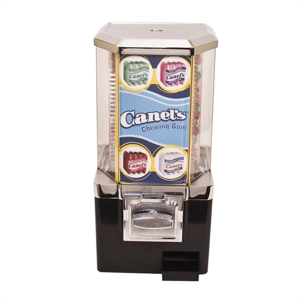 Gum vending machine with green Canels display card
