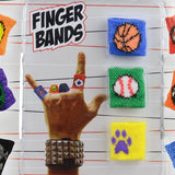 Finger bands 2 inch capsules front of display