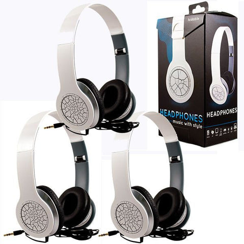 Foldable White Crackle Headphones