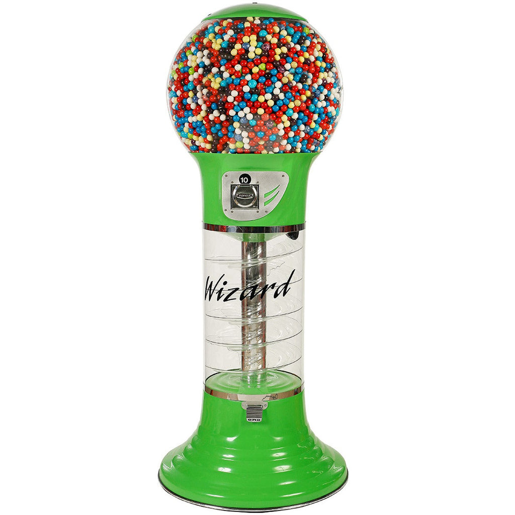 Wizard Giant spiral gumball machine in lime green
