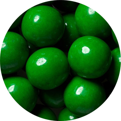 1-inch green colored gumballs in 2 pound bag