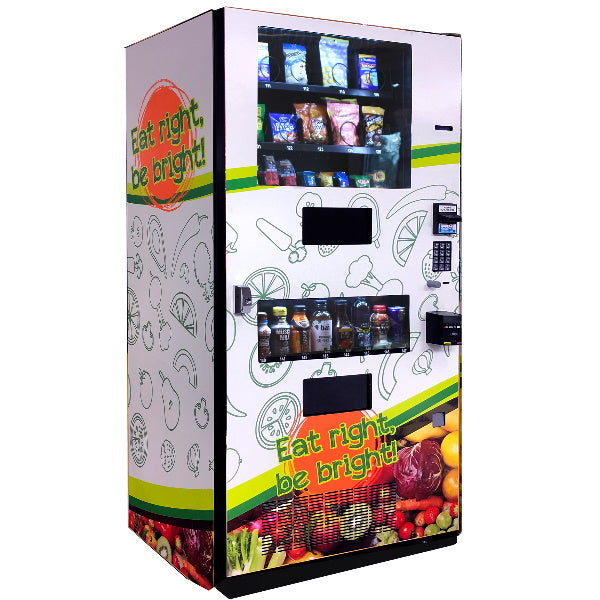 Healthy combination vending machine left side view by Seaga