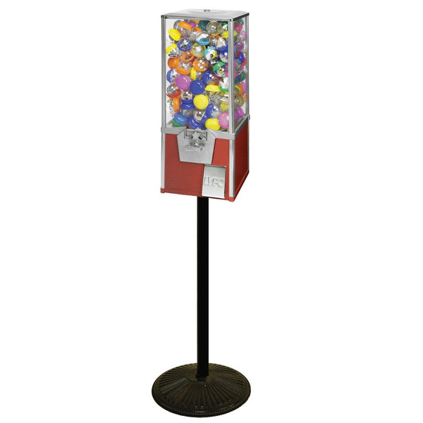 "LYPC Big Pro red colored 2"" toy capsule vending machine on a stand"