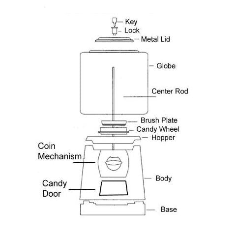 Parts Diagram for LYPC Pro Line Gumball & Candy Machine | Gumball.com