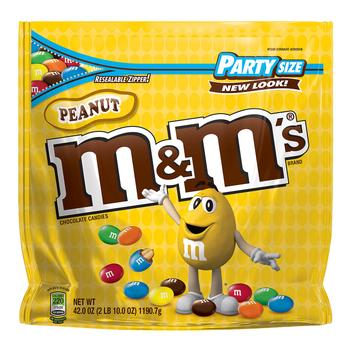 Front view of 38 oz party size bag of Peanut MMs