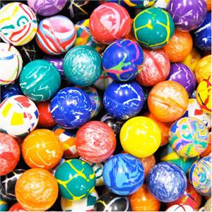 Close up image of 49mm mixed bouncy balls