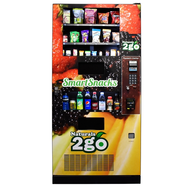 Front view of Naturals to Go vending machine