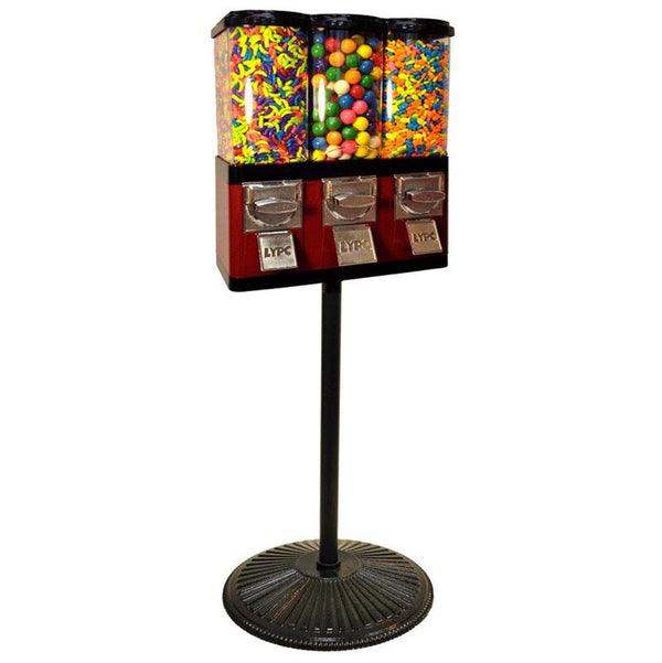 Triple Pod Candy Gumball Machine on Retro Stand