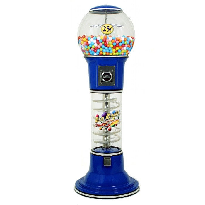 Roadrunner spiral gumball machine in the color blue