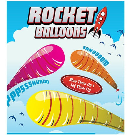 Rocket Balloons in 1.1 inch toy vending capsules