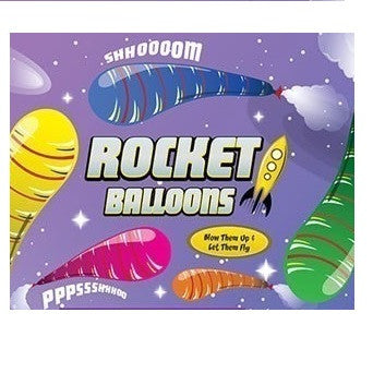 Display card for Rocket Balloons in 2-inch toy vending capsules