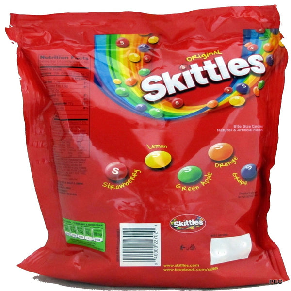 Skittles Fruit Flavor Rainbow Candy, Party Size 54 ounces back of bag
