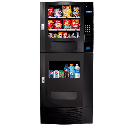 Front view of Seaga SM22 beverage and snack vending machine in black color