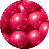 1-inch shimmer bright pink colored gumballs in 2 pound bag