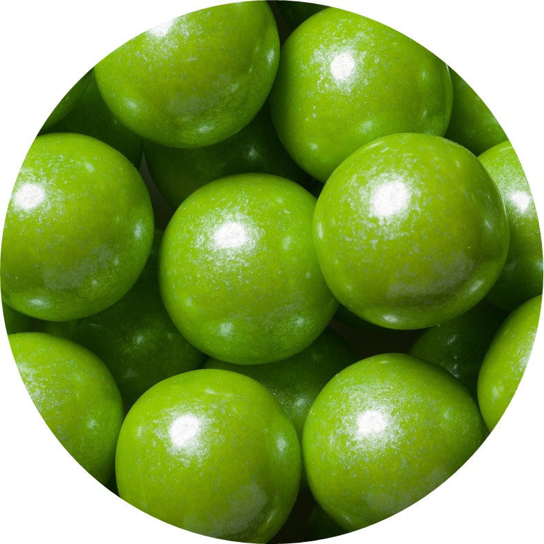 1-inch shimmer lime green colored gumballs in 2 pound bag