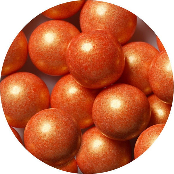 1-inch shimmer orange colored gumballs in 2 pound bag