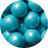 1-inch shimmer powder blue colored gumballs in 2 pound bag