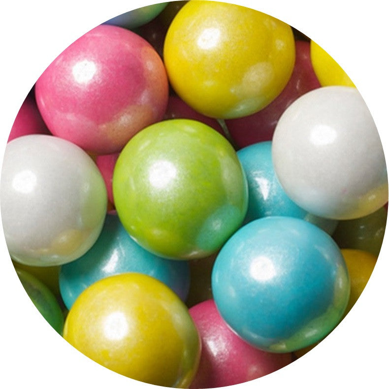 1-inch shimmer pastel spring colored gumballs in 2 pound bag