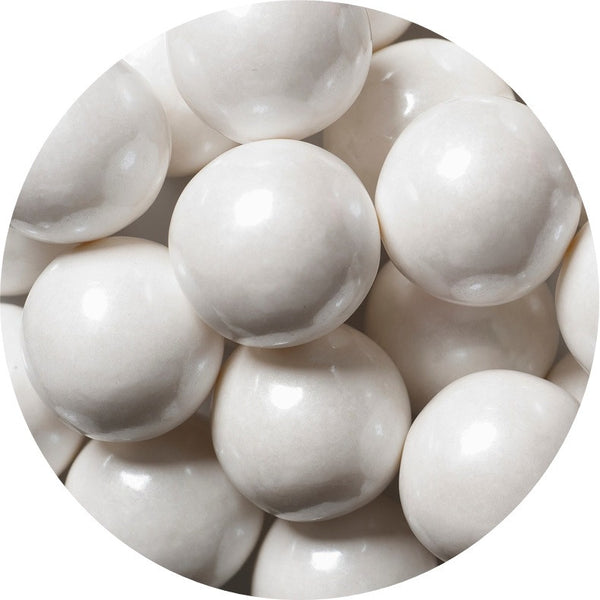 1-inch shimmer white colored gumballs in 2 pound bag