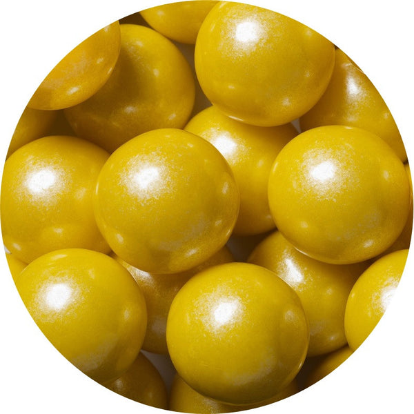 1-inch shimmer yellow colored gumballs in 2 pound bag