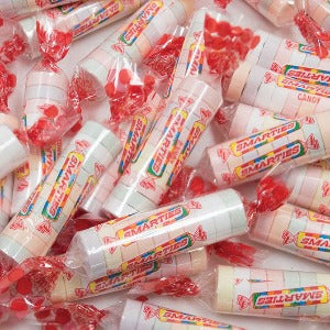 Smarties Rolls Fruit Flavored Tablet Candy Product Packaging Image