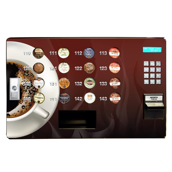 Front view of the Seaga single serve coffee vending machine