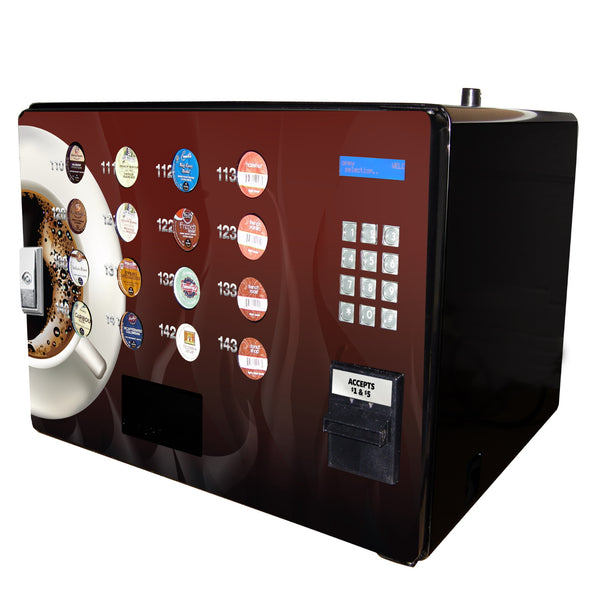 Side view of the Seaga single serve coffee vending machine
