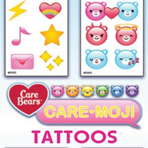 Care Bear Emoji Tattoos in cardboard folders