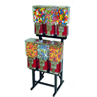 6 head candy machine LYPC pro line candy gumball machine vending rack